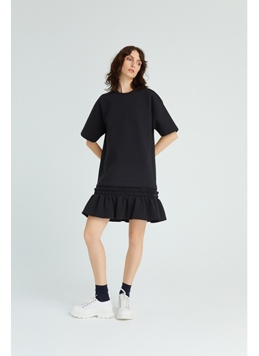 Rue Volanlı Mini Elbise Siyah